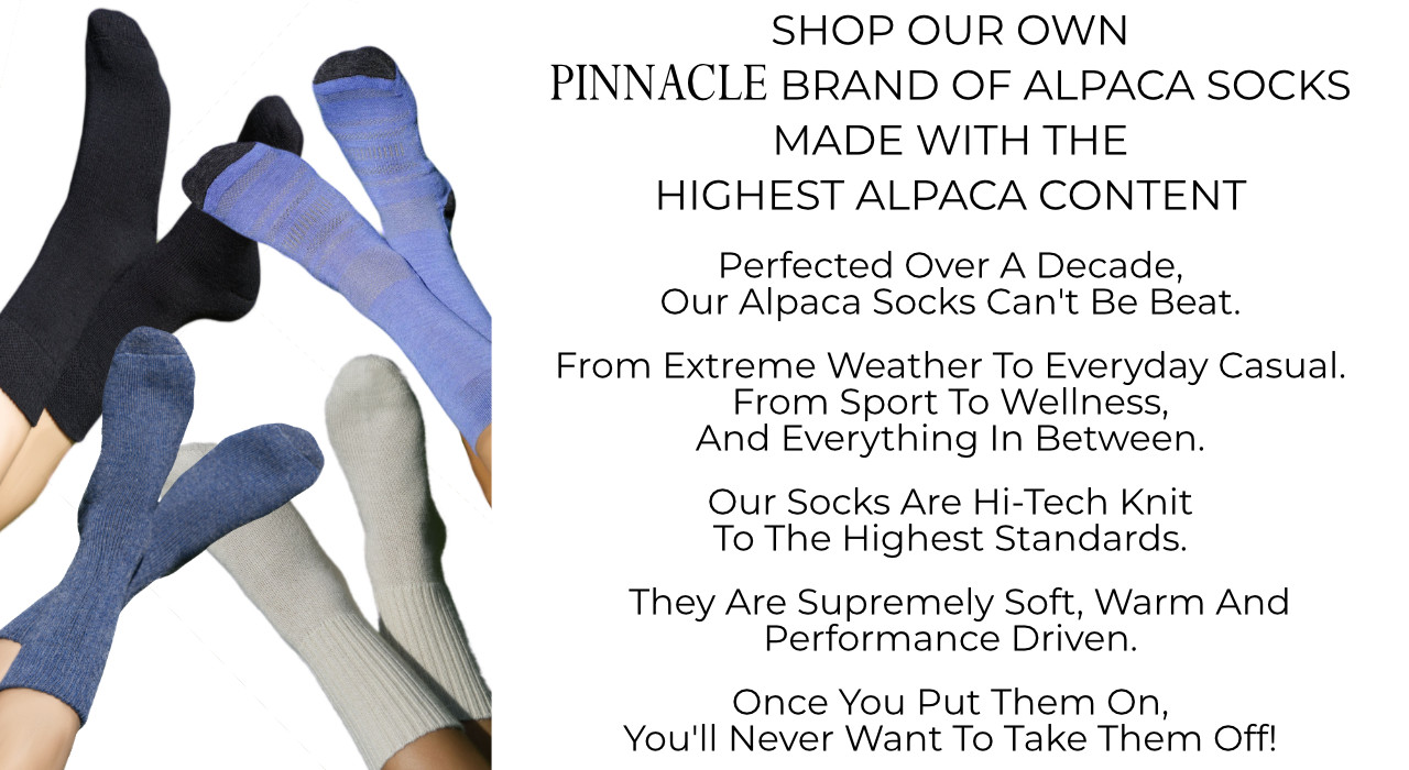 Shop the alpaca socks with the highest alpaca content. Mt. Caesar Alpacas Pinnacle Brand of Alpaca Socks