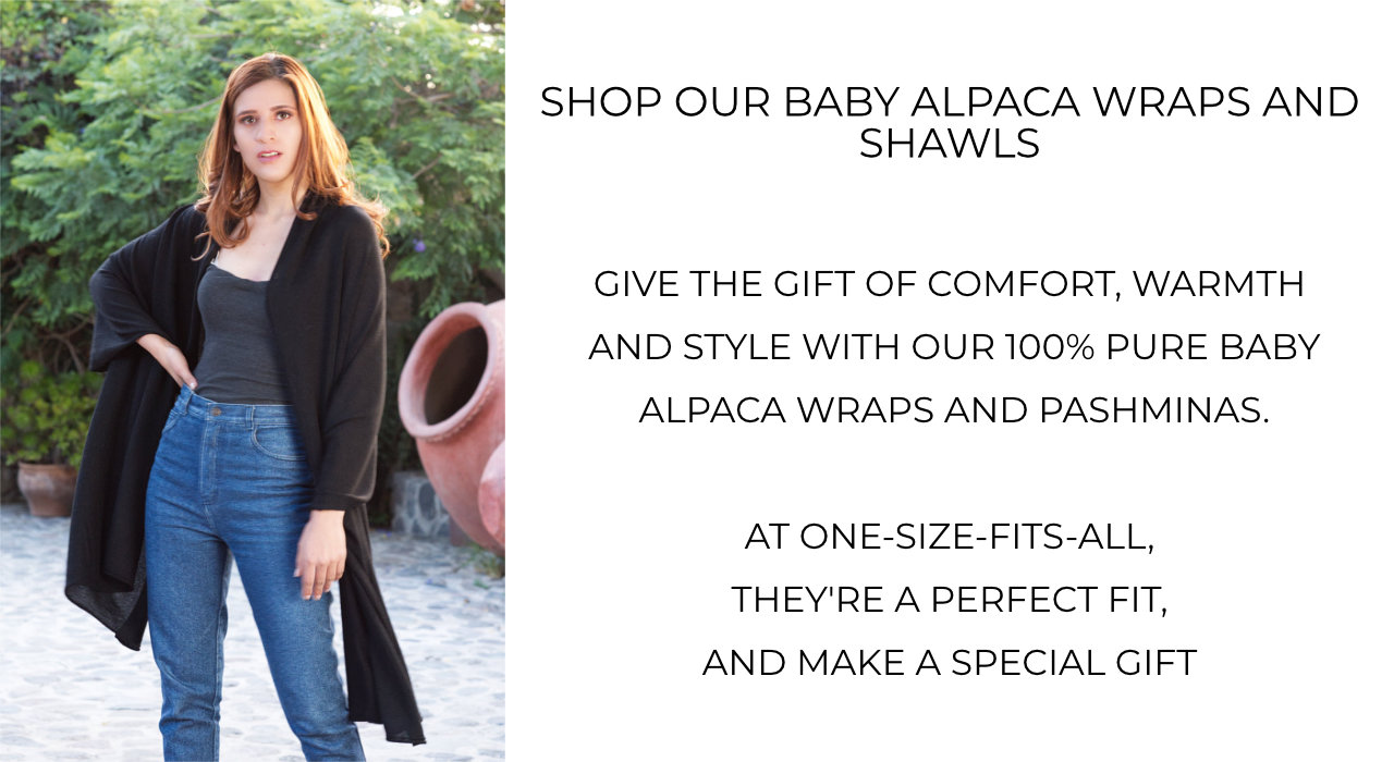Shop 100% pure baby alpaca wraps and alpaca shawls and alpaca pashminas