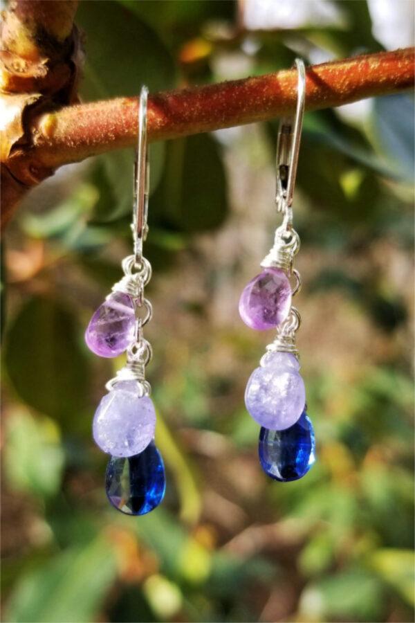 Kyanite, Tanzanite and Amethyst Gemstone Earrings