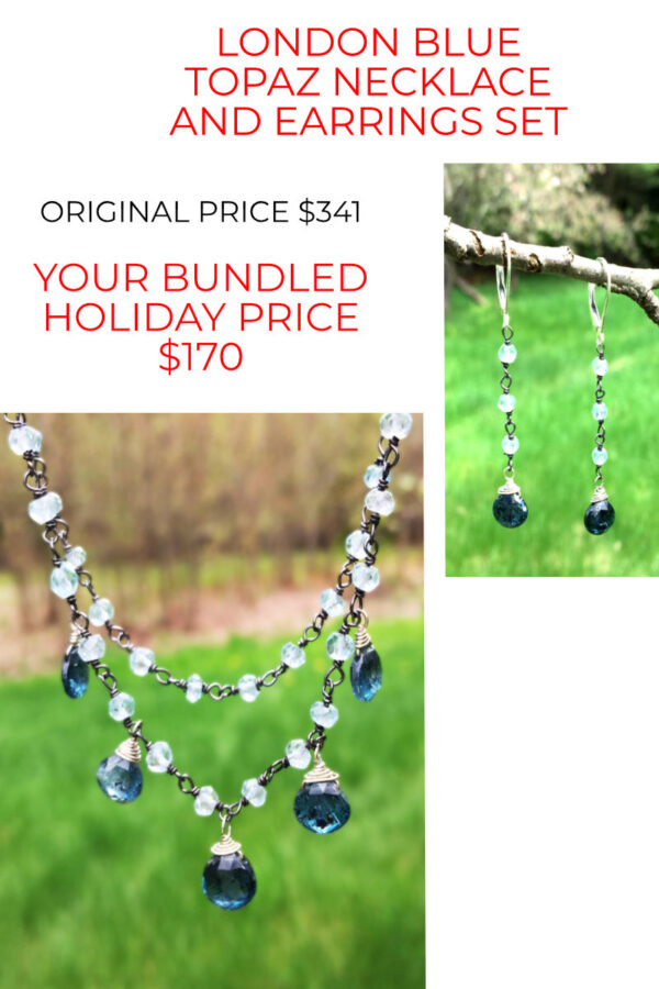 London Blue Topaz Necklace And Earring Set 50% Off