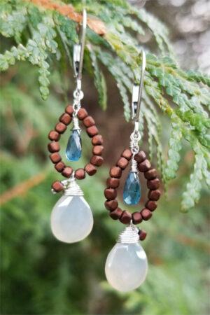 Moonstone, Copper Hematite And Indigo Kyanite Gemstone Earrings