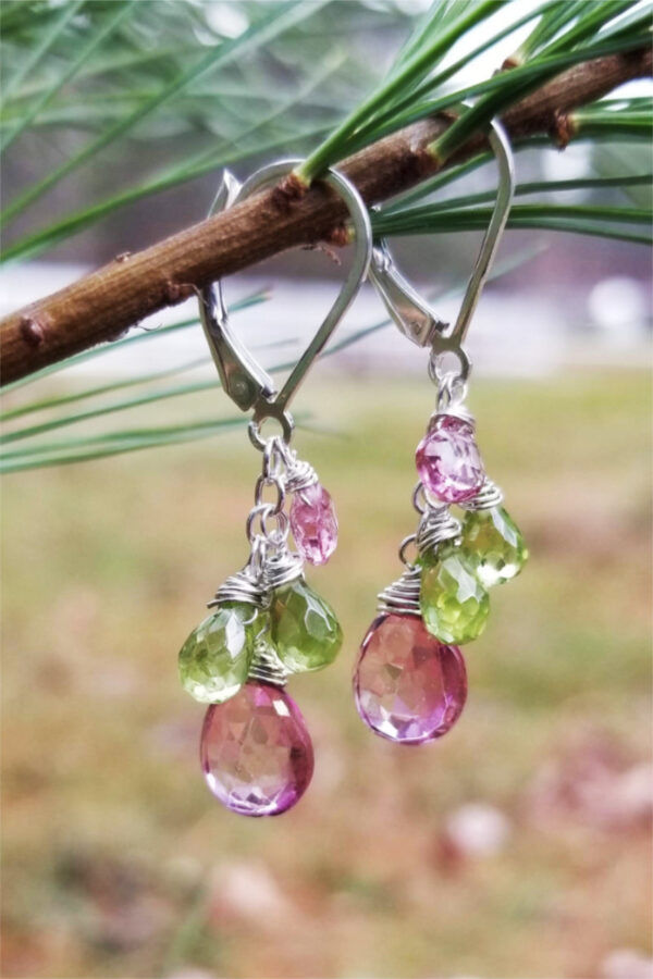 Pink Topaz and Green Peridot Earrings