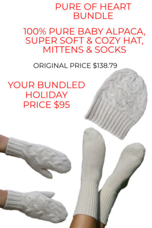 Huge savings on our pure baby alpaca hat, mittens and socks bundle
