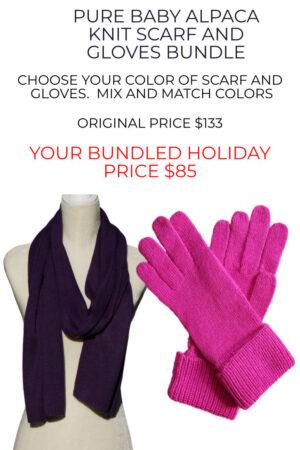 Huge savings on Pure Baby Alpaca Scarf and Gloves Bundle