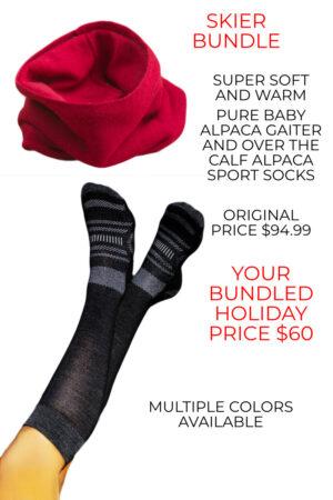 Big Savings on our Alpaca Ski Bundle of Alpaca Ski Socks and Alpaca Gaiter
