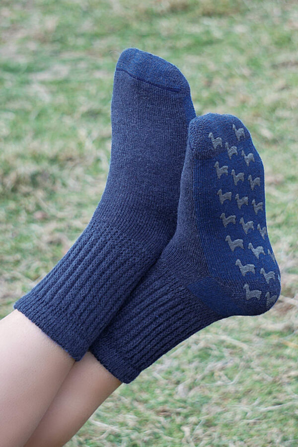 Super Warm And Cozy Baby Alpaca Slipper Socks In Denim Blue