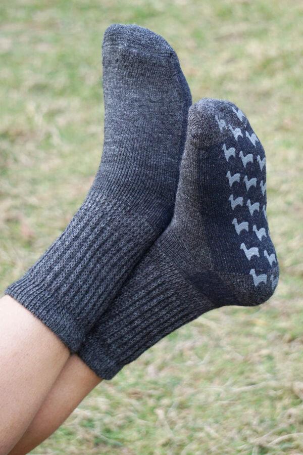 Super warm and cozy baby alpaca slipper socks in grey