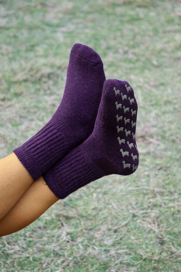 Super warm and cozy baby alpaca slipper socks in plum