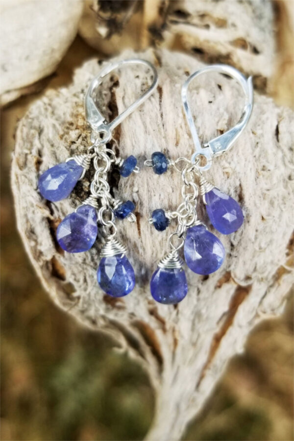 Tanzanite and Kyanite Gemstone Earrings