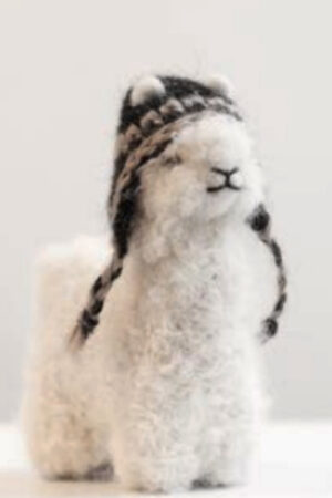 Alpaca felted figurine with chullo hat