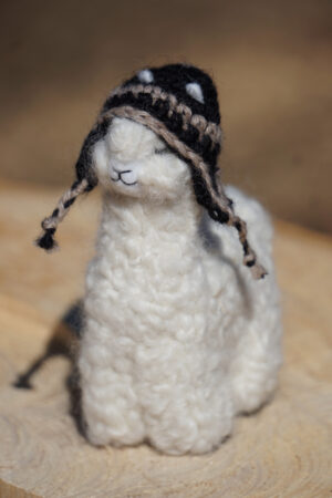 4 1/2 Inch Hand Felted Alpaca Pal With Hand Knit Brown Chullo Hat