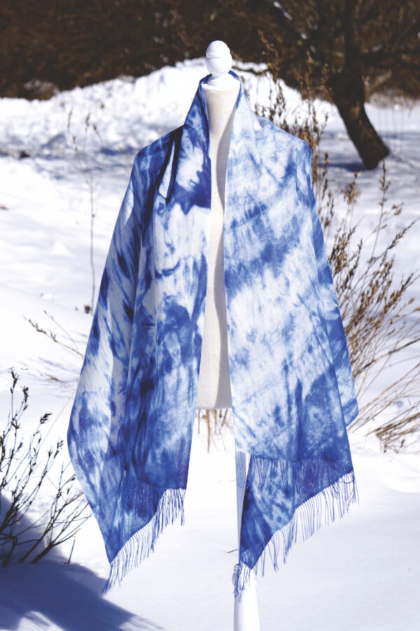 Baby Alpaca Hand Painted Pashmina In Shades Of Blue