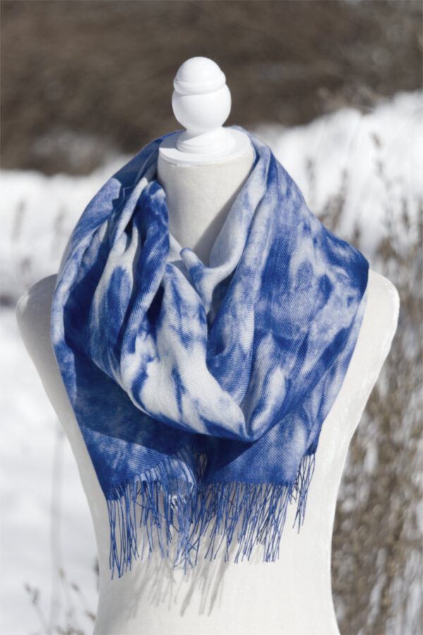 Baby Alpaca Hand Painted Scarf In Shades Of Blue