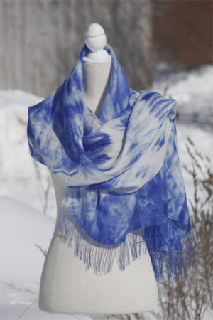 Baby Alpaca Hand Painted Scarf/Pashmina In Shades Of Blue