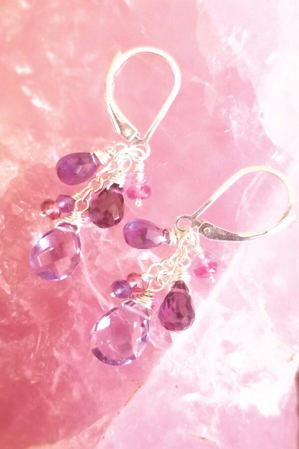 Amethyst, Rhodolite, Rubelite And Tourmaline Gemstone Earrings