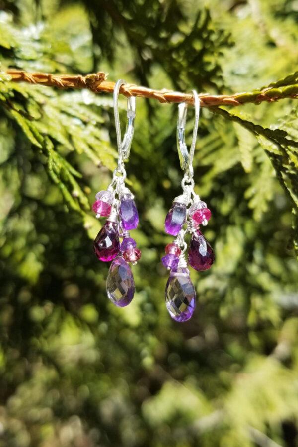 Amethyst, Rhodolite And Tourmaline Gemstone Earrings