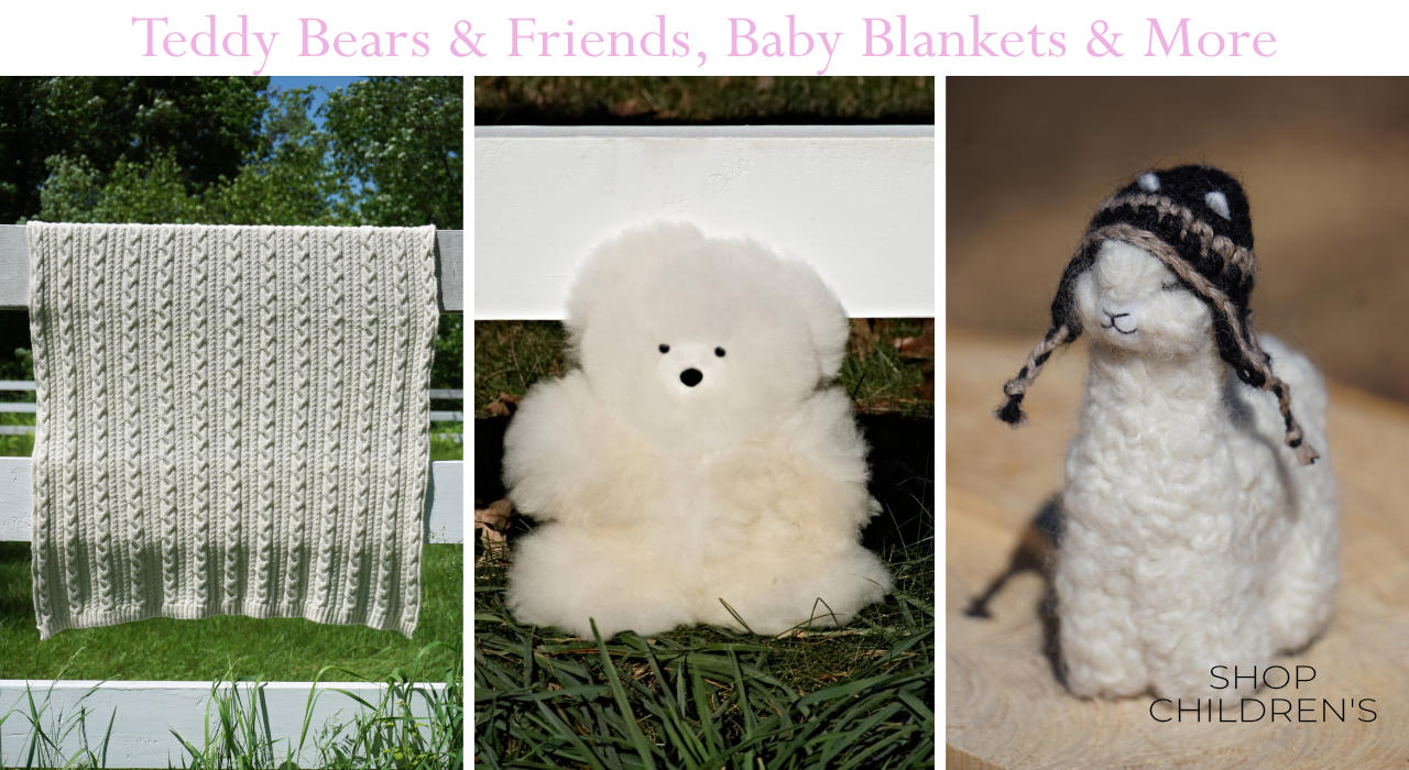 Shop alpaca products for children, including, teddy bears, felted alpaca pals, baby blankets and more.