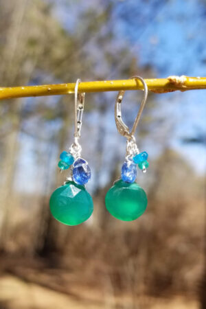 Green Onyx, Kyanite And Apatite Earrings
