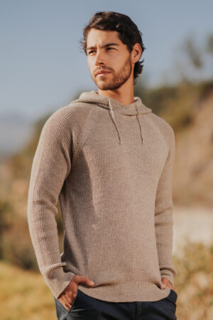 Mt. Caesar Alpacas Men's Pure Baby Alpaca Waffle Stitch Hooded Pullover