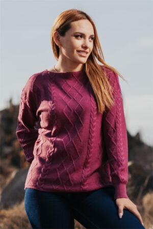 Mt. Caesar Alpacas 100% Pure Royal Alpaca Cabled Sweater In Violet Quartz